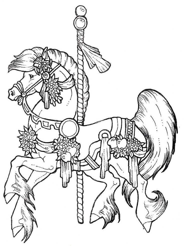 Adult Coloring Pages Horses  Carousel Coloring Pages Coloring Home