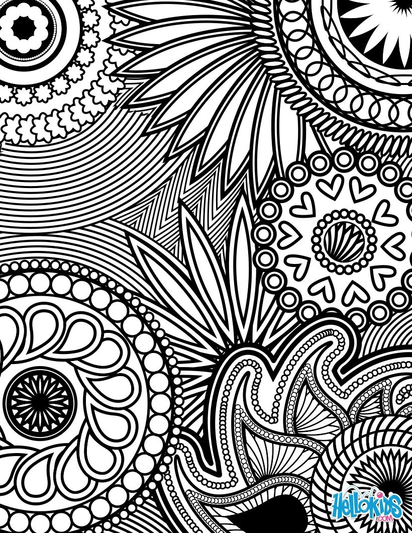 Adult Stress Coloring Books  Paisley hearts and flowers anti stress coloring design