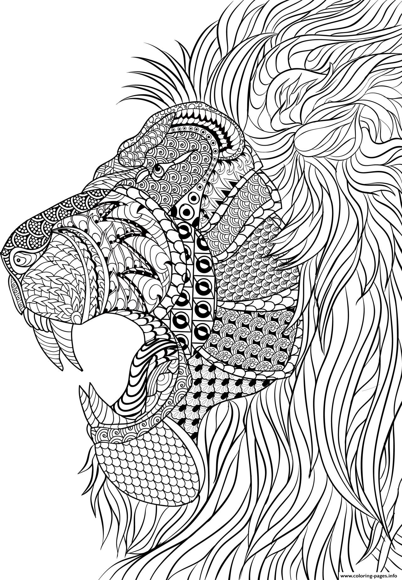 Adult Stress Coloring Books  Lion Adult Anti Stress Coloring Pages Printable