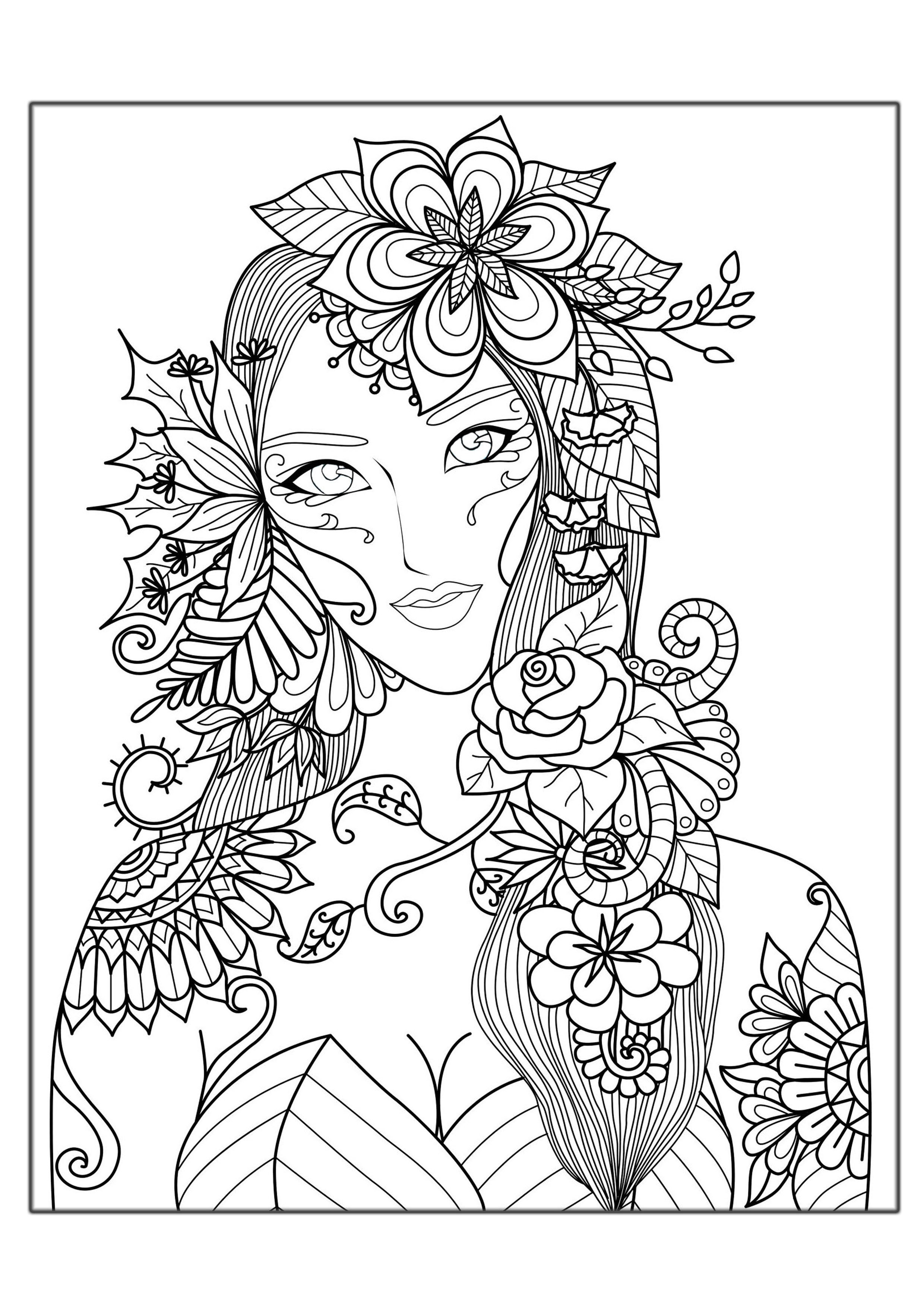 Adult Stress Coloring Books  Woman flowers Anti stress Adult Coloring Pages