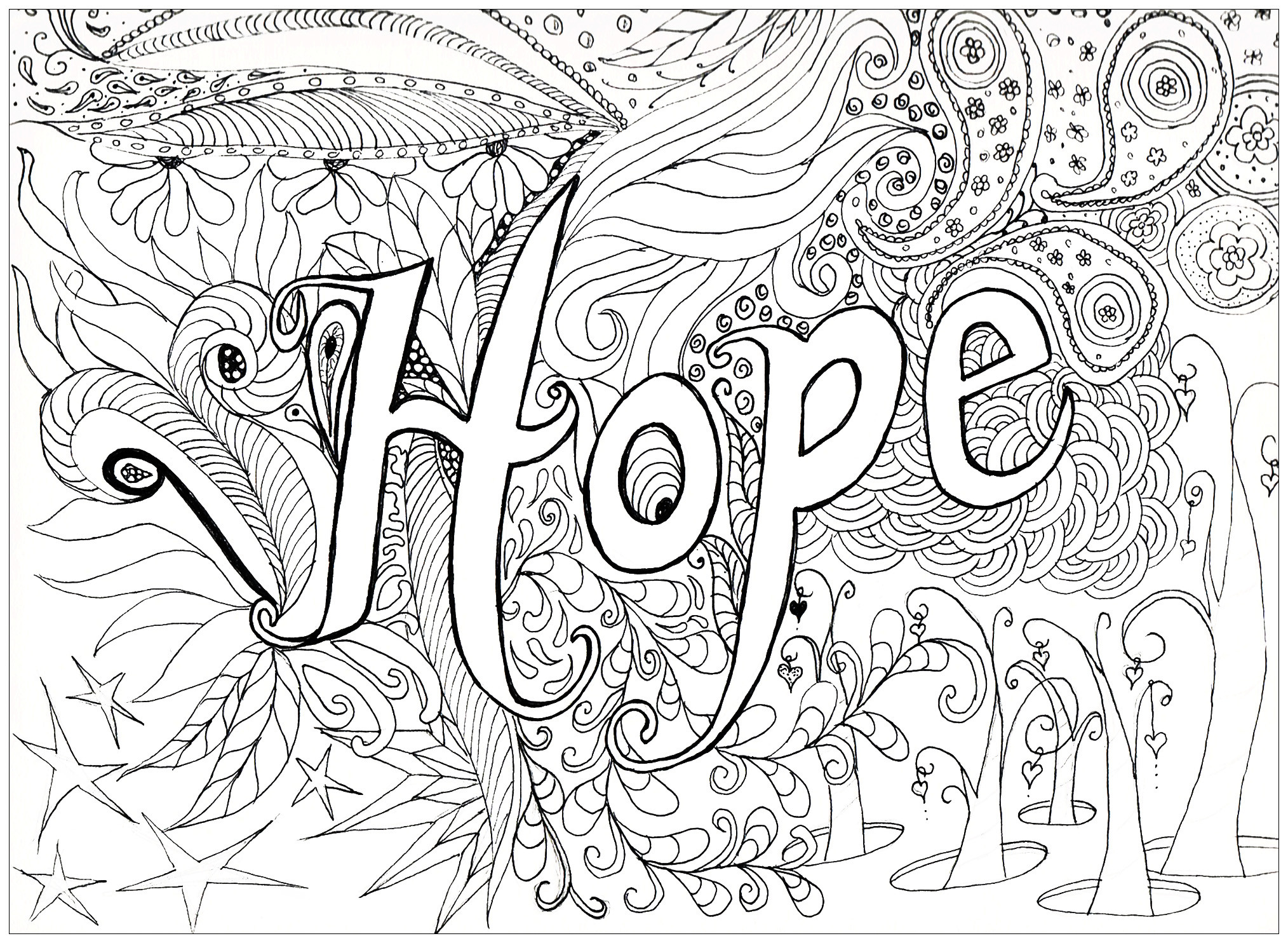 Adult Stress Coloring Books  Hope Anti stress Adult Coloring Pages Page 3