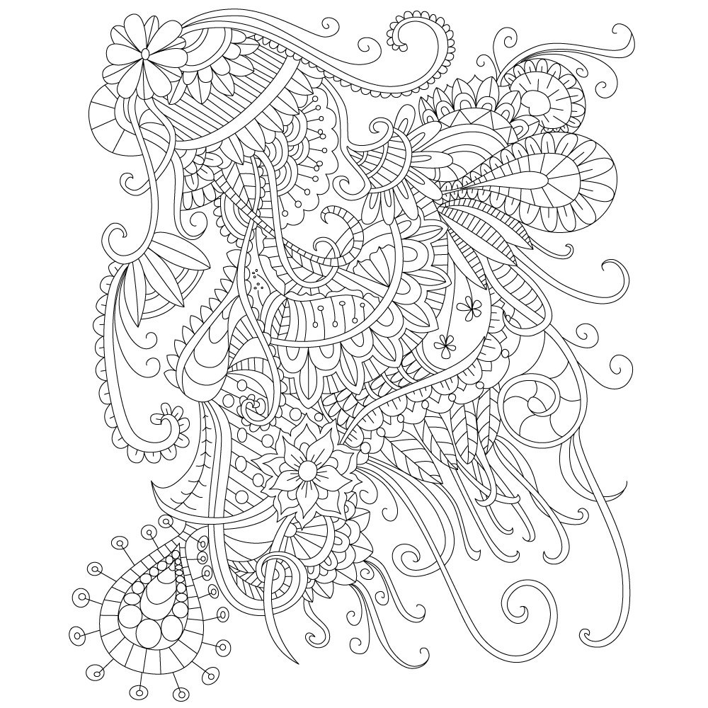 Adult Stress Coloring Books  Adult Coloring Page of Abstract Doodle Drawing for Stress