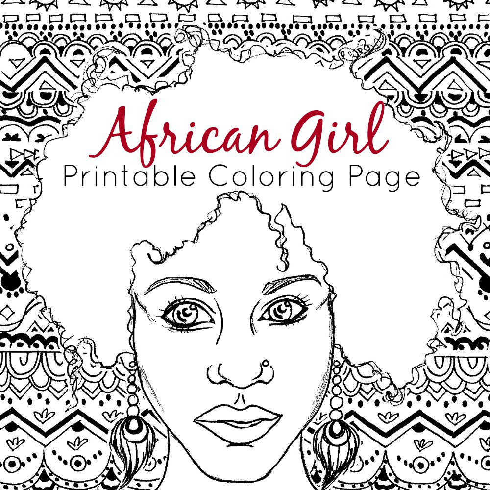 African American Girl Coloring Pages  African Coloring Page Adult Coloring Page African Girl