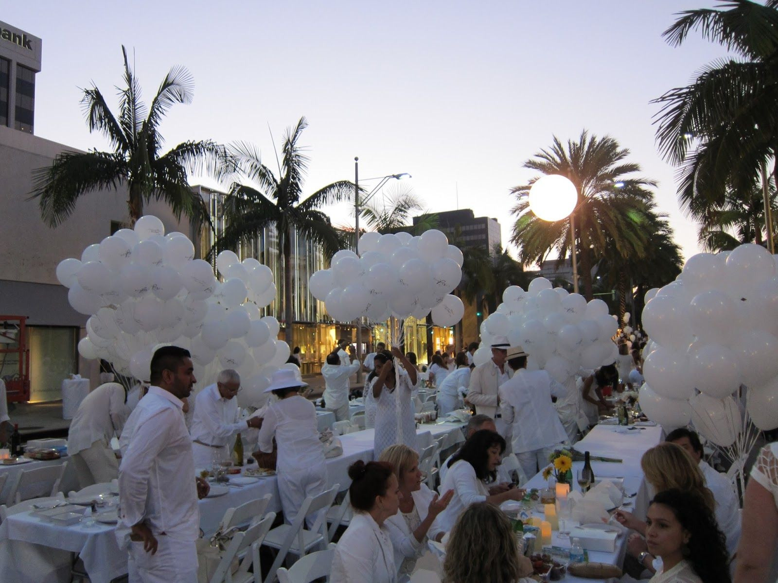 All White Pool Party Ideas  Diner en Blanc all white party Los Angeles palm trees