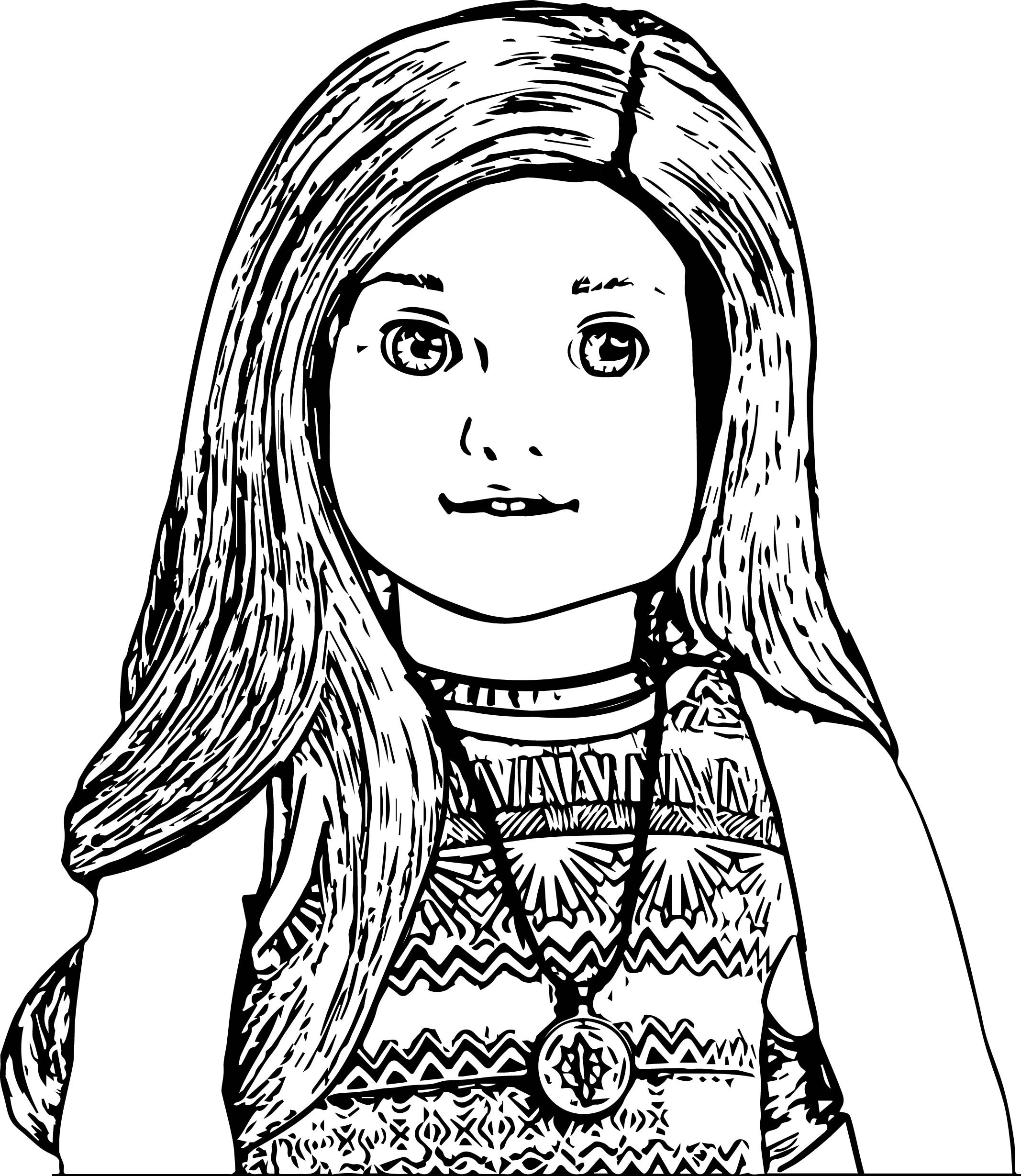 American Girl Lea Coloring Pages  American Doll Lea Closeup Coloring Page