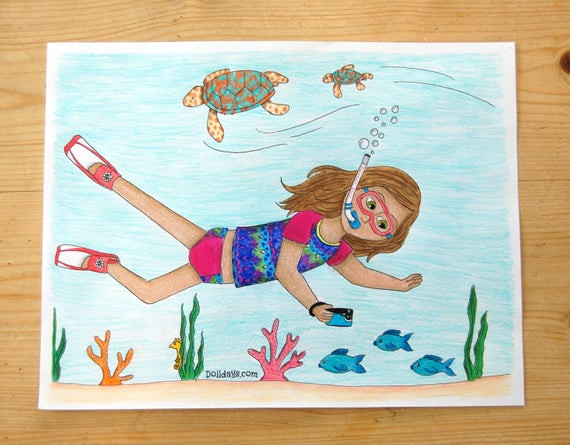 American Girl Lea Coloring Pages  American Girl Lea Clark Inspirec Coloring Page Underwater