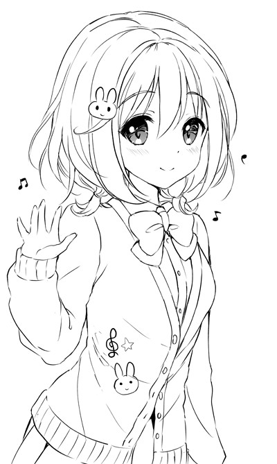 """Anime School Girl Coloring Pages  つかこ on Twitter """"風町陽歌ちゃん~"""