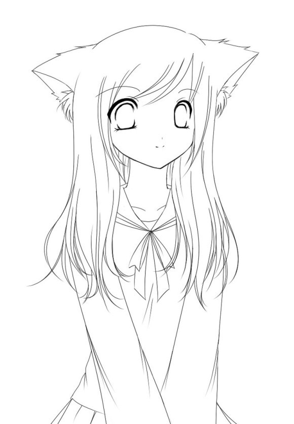 Anime School Girl Coloring Pages  Cute Anime Girl Coloring Pages Gianfreda
