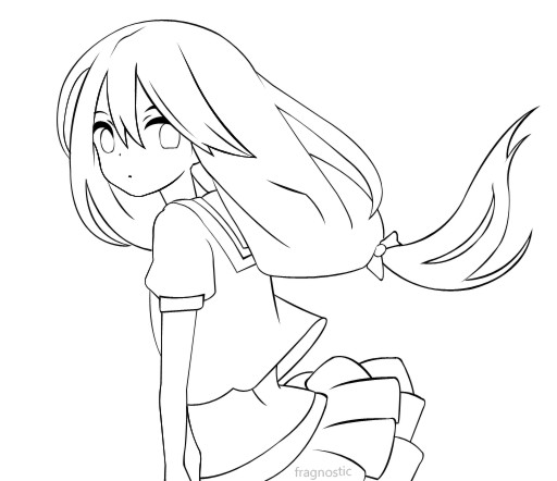 Anime School Girl Coloring Pages  Schoolgirl lineart by Fragnostic on DeviantArt