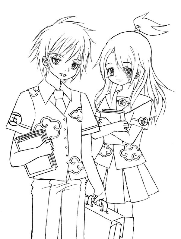 Anime School Girl Coloring Pages  Anime School Uniform Drawing Sketch Coloring Page