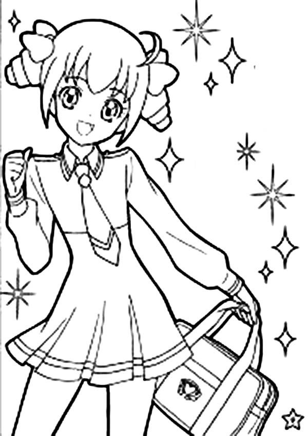 Anime School Girl Coloring Pages  Cute Girl Anime Character Coloring Page