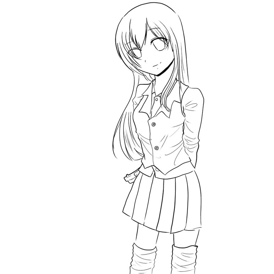 Anime School Girl Coloring Pages  Anime School Girl Sketches Sketch Coloring Page