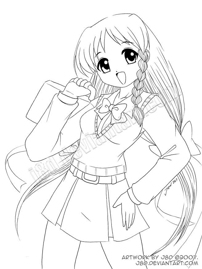 Anime School Girl Coloring Pages  Anime School Girl Coloring Pages