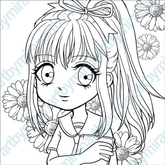 Anime School Girl Coloring Pages  Items similar to Digital Stamp Schoolgirl Daisy Coloring