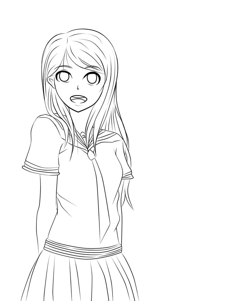 Anime School Girl Coloring Pages  Jer kun Jerus kun DeviantArt