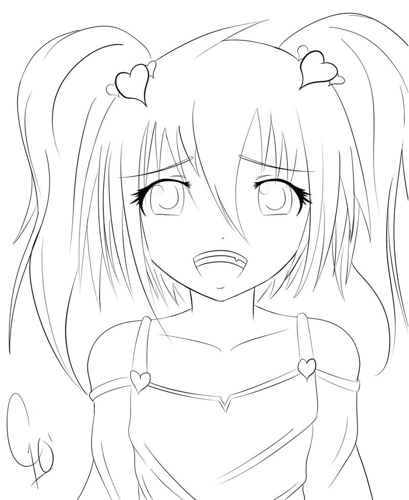 Anime School Girl Coloring Pages  cute anime girl by chuloc on DeviantArt