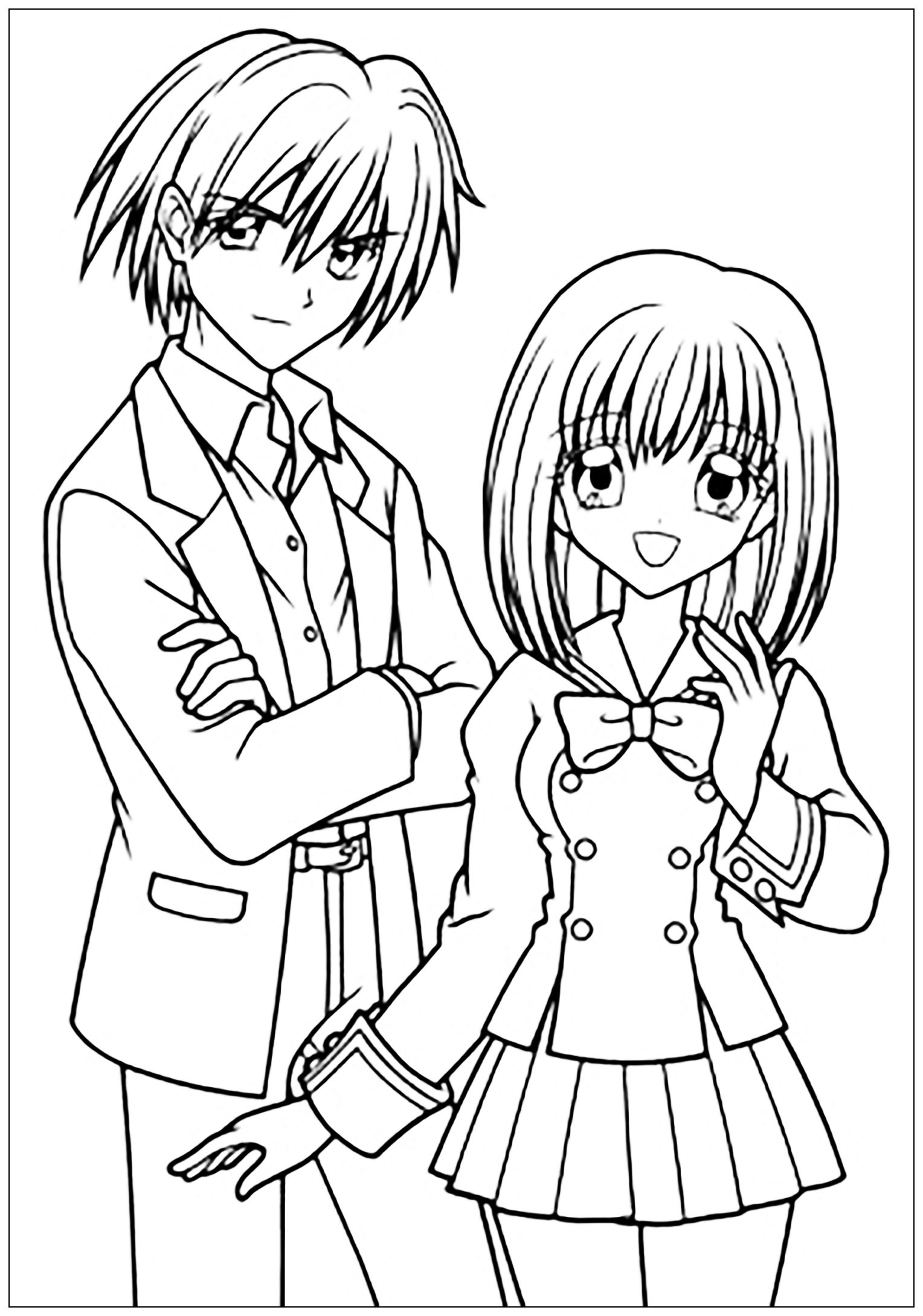 Anime School Girl Coloring Pages  Manga drawing boy and girl in school suit Manga Anime
