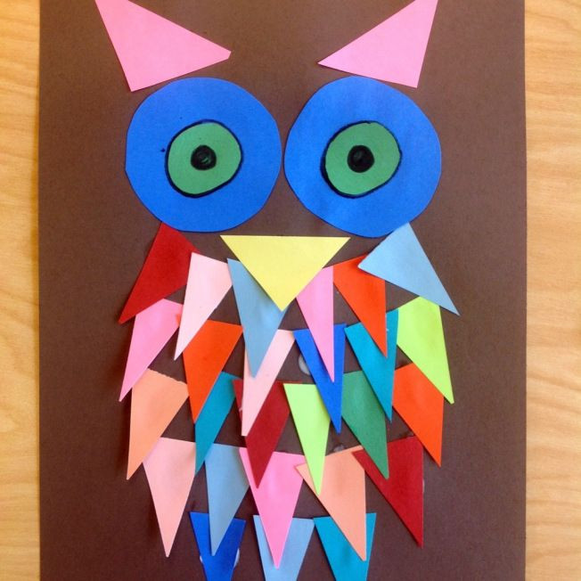 Arts And Crafts For Preschoolers  Kindergarten Shape Owls Kids art