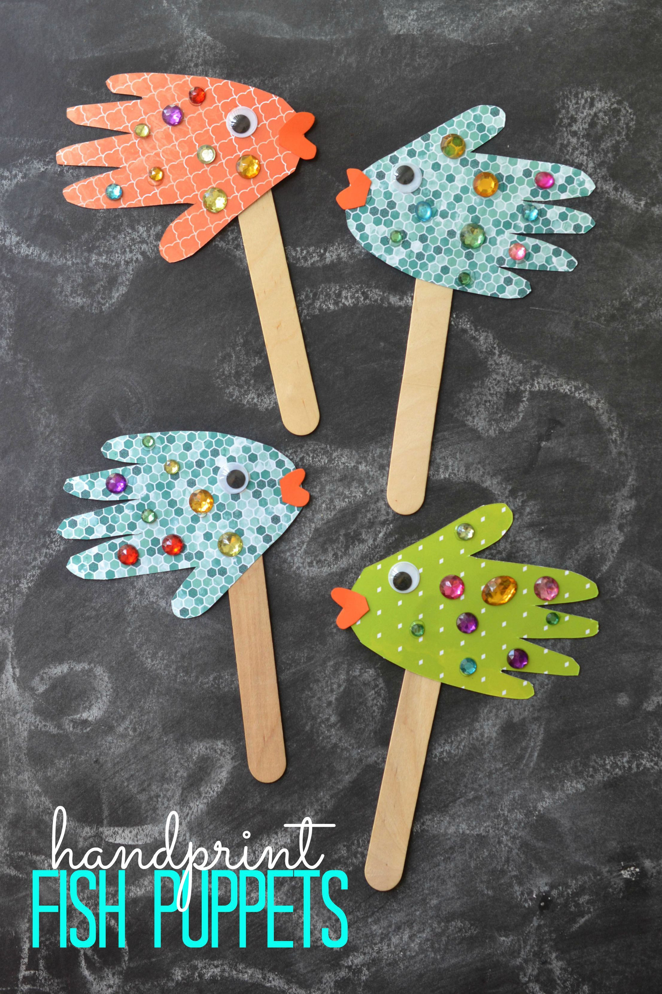Arts And Crafts For Preschoolers  Easy Kids Craft Handprint Fish Puppets