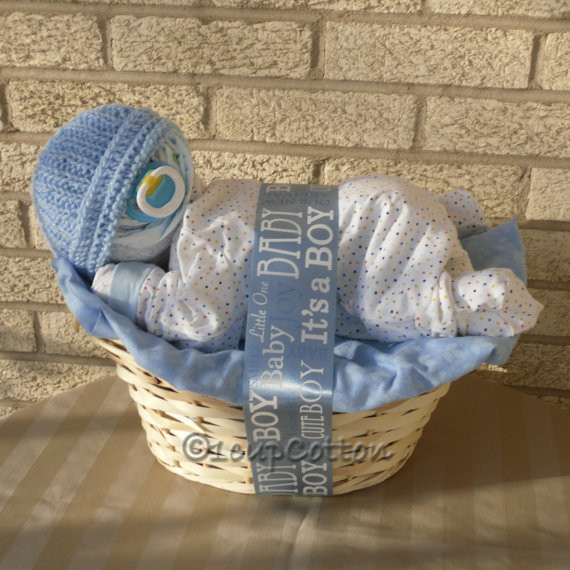 Baby Boy Gift Basket Ideas  Deluxe Boy Napping Baby BasketTM in Blue by 1cupCotton on