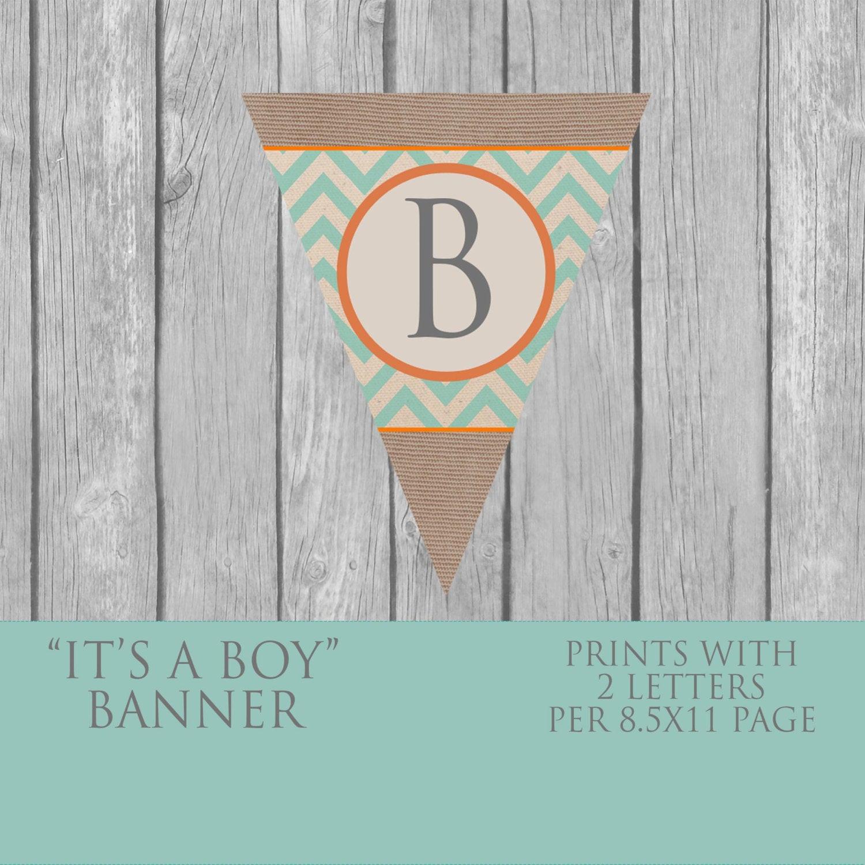 Baby Shower Banners DIY  DIY Boy Baby Shower banner vintage INSTANT DOWNLOAD teal