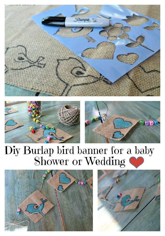 Baby Shower Banners DIY  Diy burlap bird banner for a baby shower Debbiedoos