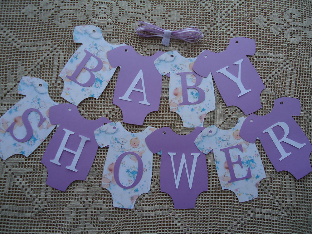 Baby Shower Banners DIY  10 Bunting Flags Banners Garland esies BABY SHOWER Lilac