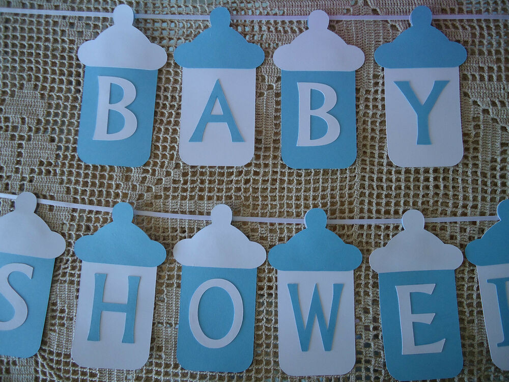 Baby Shower Banners DIY  BABY SHOWER Bunting Banner Flags Garland Blue White Baby