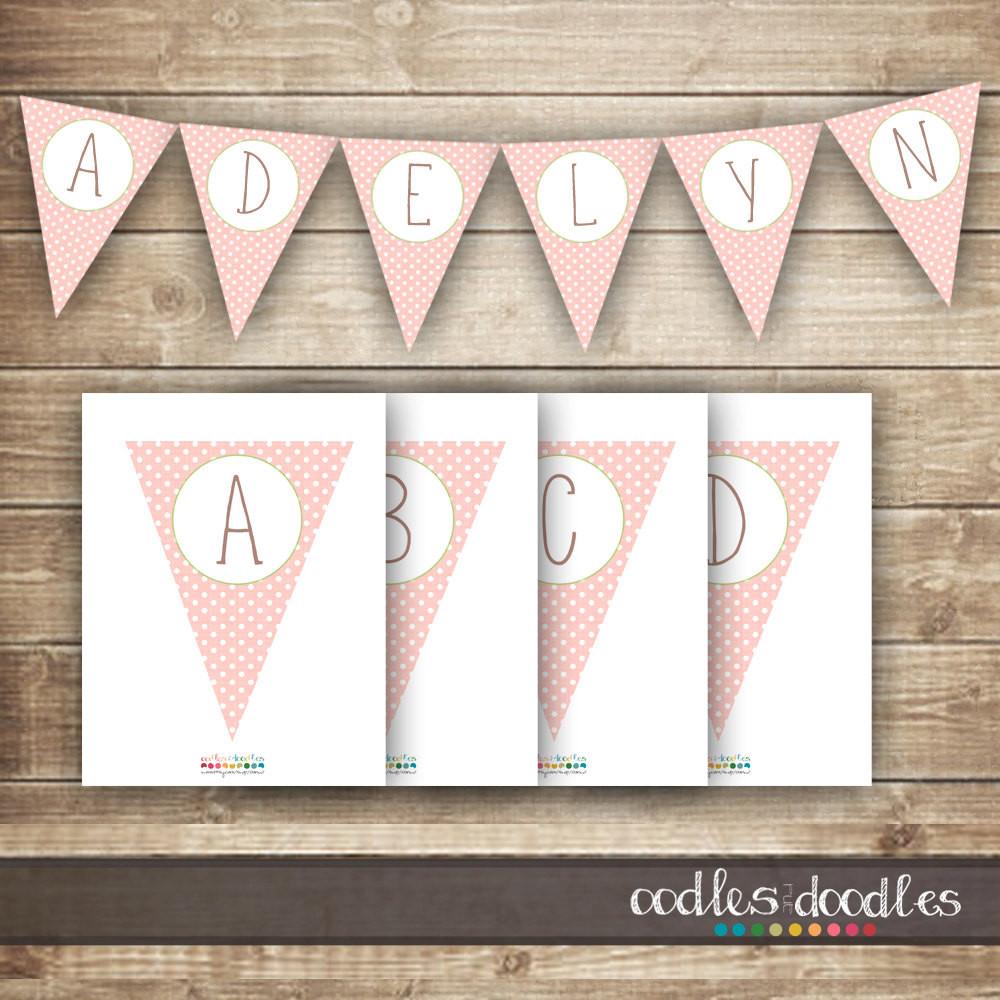 Baby Shower Banners DIY  Pink & Green Polka Dots Pennant Banner diy Bunting