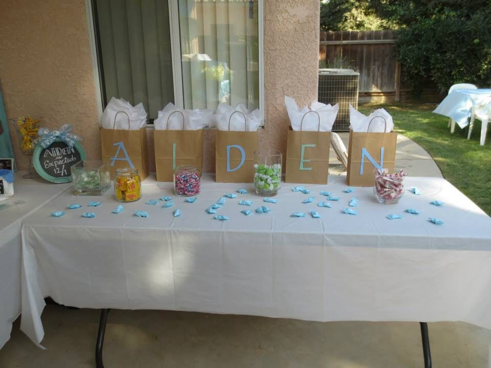 Baby Shower Game Gift Ideas  Gifts for baby shower game winners with candy scattered