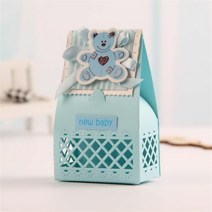 Baby Shower Gift Bags For Guests Ideas  Pink and Blue Cute Baby Favors Boxes Baptism Bombonieres