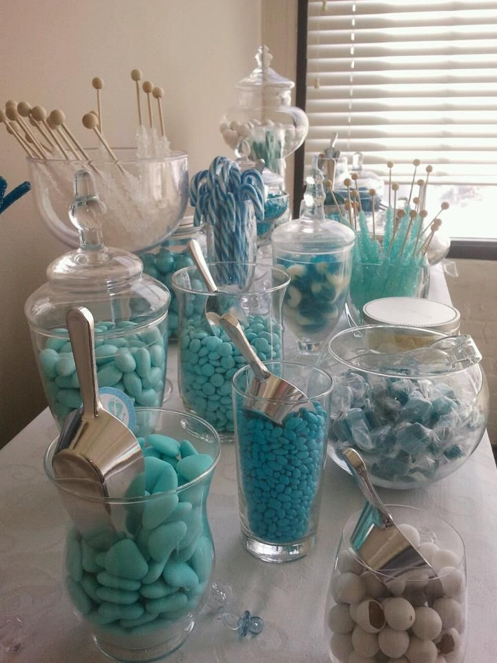 Baby Shower Gift Bags For Guests Ideas  25 best ideas about Blue candy buffet on Pinterest