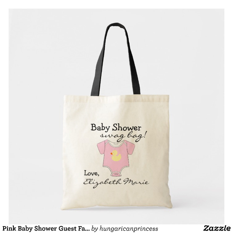 Baby Shower Gift Bags For Guests Ideas  Pink Baby Shower Guest Favor Gift Tote Bag