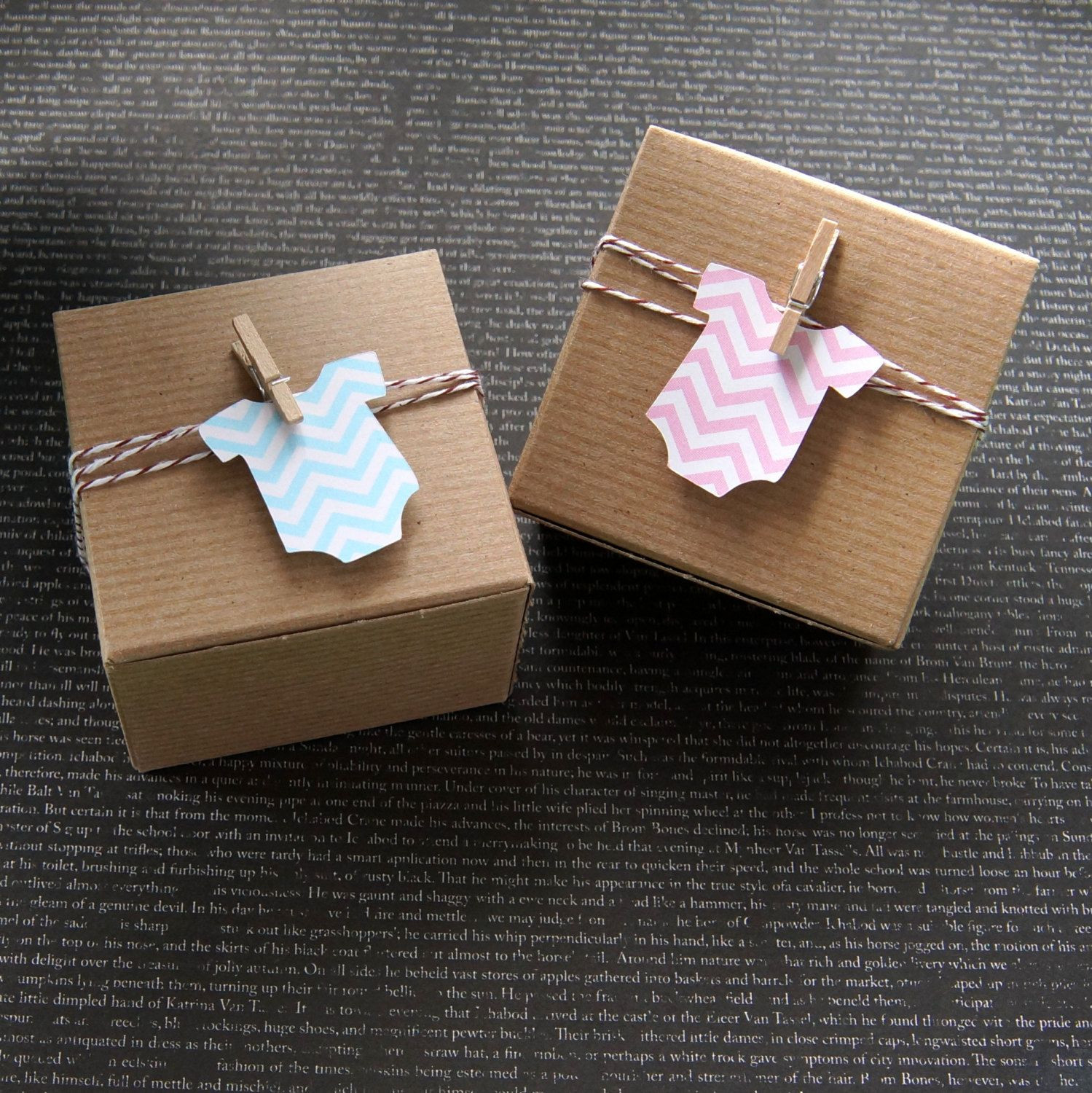 Baby Shower Gift Wrapping Ideas  12 Chevron Baby Bodysuit or Romper Baby Shower Favor Box