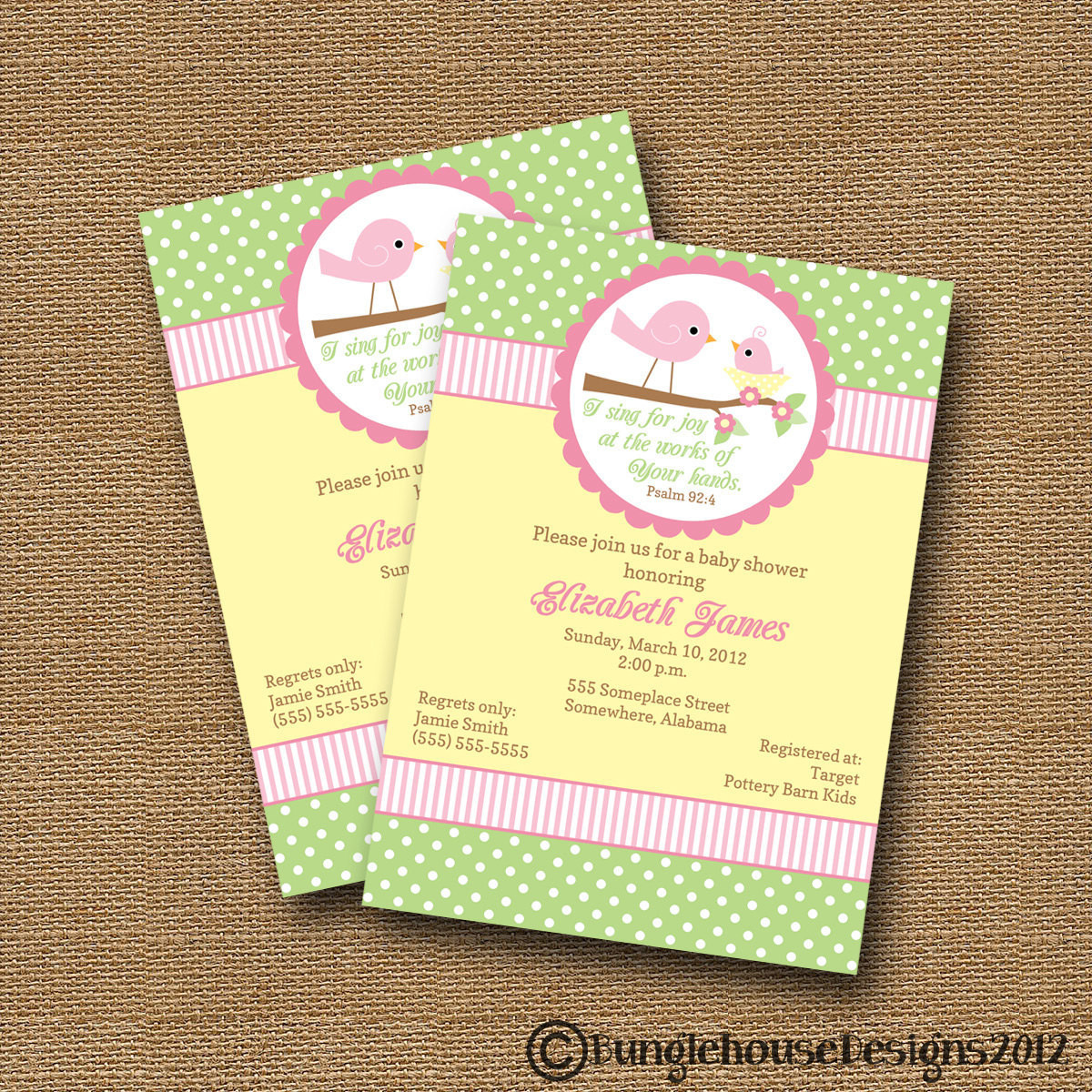 Baby Shower Invitations DIY  Bird Baby Shower Invitation DIY PRINTABLE Baby Girl Christian