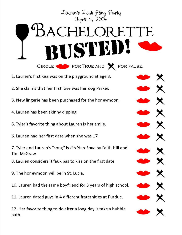 Bachelorette Party Game Ideas  Bachelorette Busted Unique Printable Bachelorette by