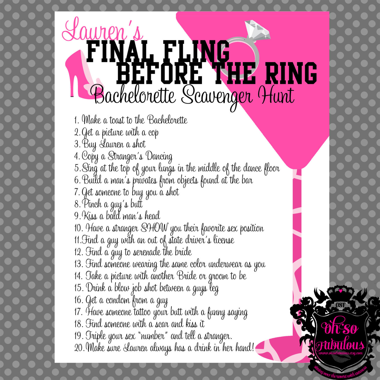 Bachelorette Party Game Ideas  Wild and Crazy Bachelorette Party Scavenger Hunt