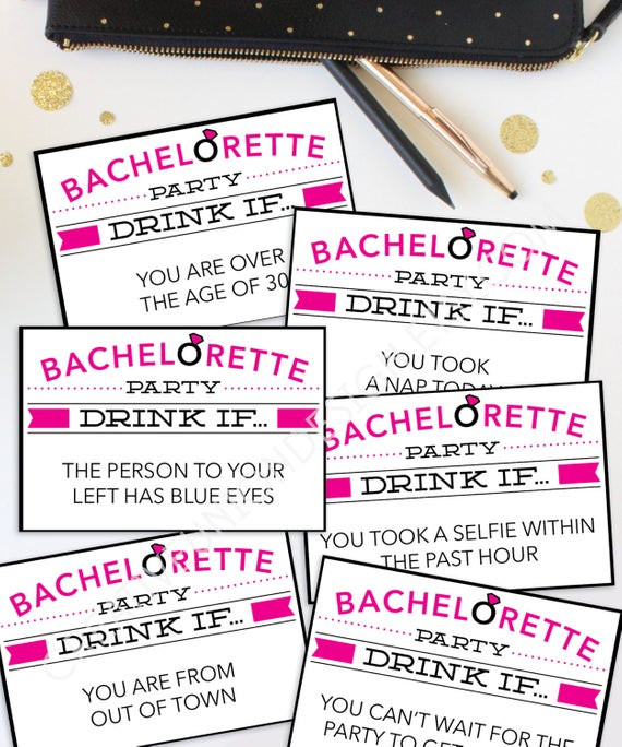 Bachelorette Party Game Ideas  Bachelorette Party Game Drink If Game Printable