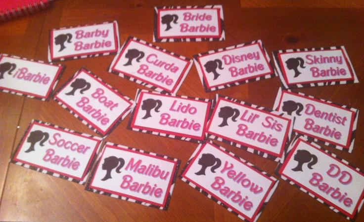 Bachelorette Party Names Ideas  Barbie name tags for a Barbie themed Bachelorette Party