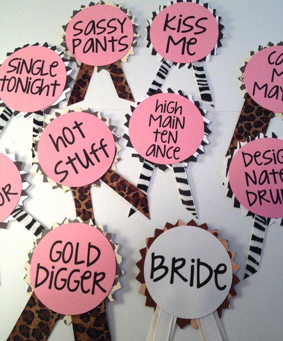 Bachelorette Party Names Ideas  Bachelorette Party Pins Name Tags Bachelorette Sash