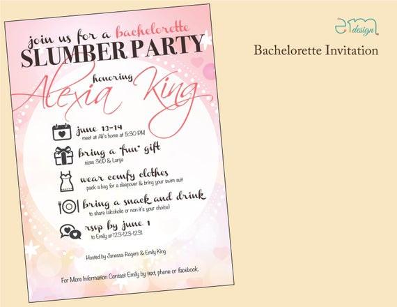 Bachelorette Slumber Party Ideas  Girls Slumber Party Bachelorette Party by EmDesignWedding