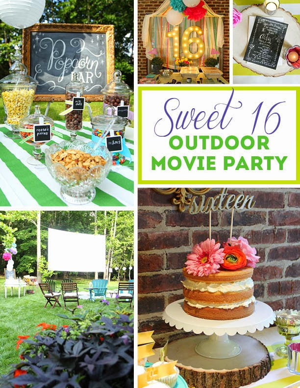 Backyard Birthday Party Ideas Sweet 16  Abby's Sweet 16 Outdoor Movie Party