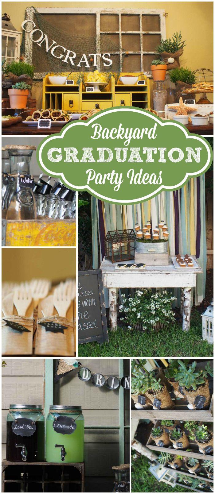"Backyard College Graduation Party Ideas  Graduation and ocean Graduation End of School ""Backyard"
