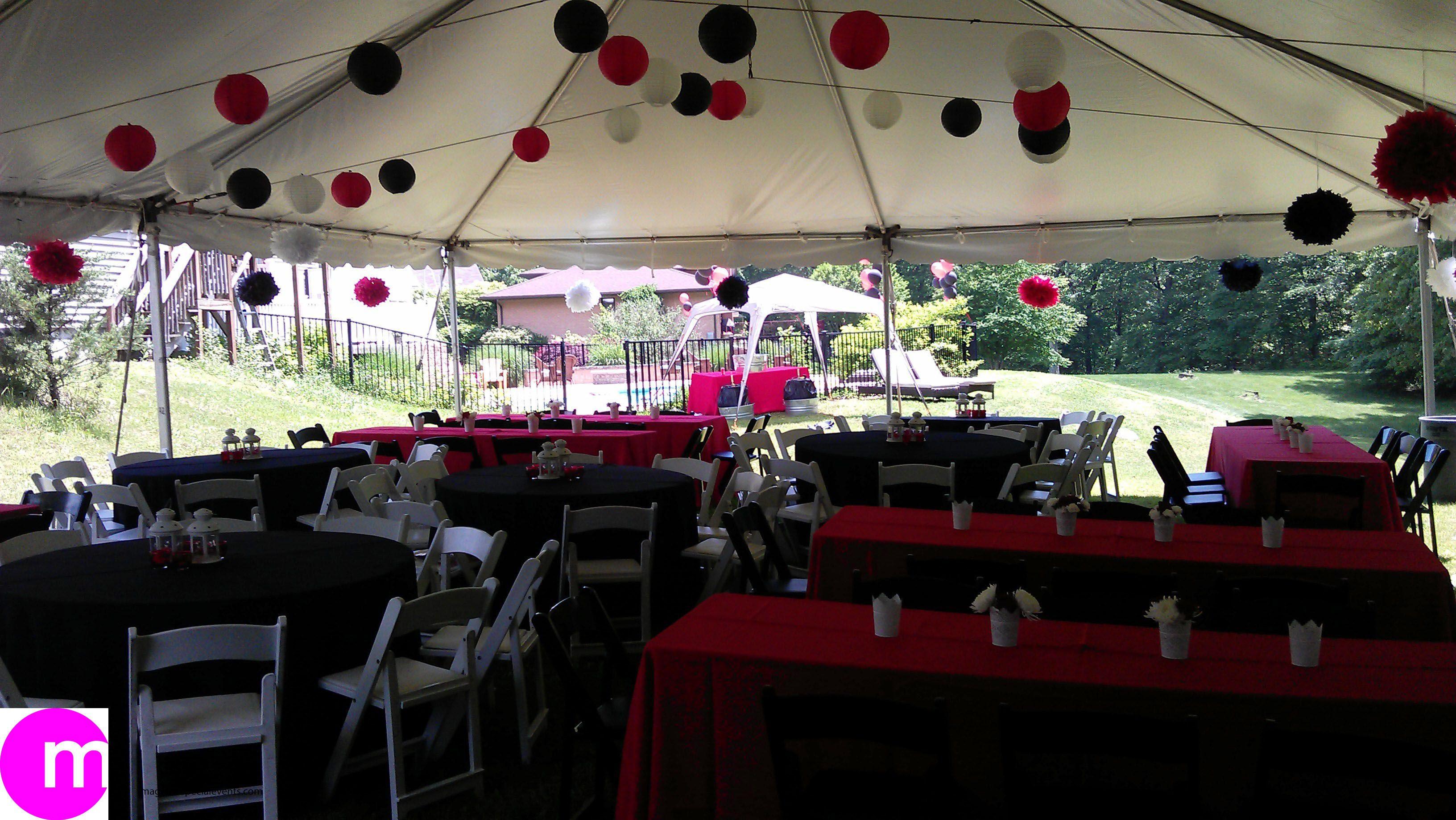 Backyard College Graduation Party Ideas  Graduation party in a backyard with tent College colors