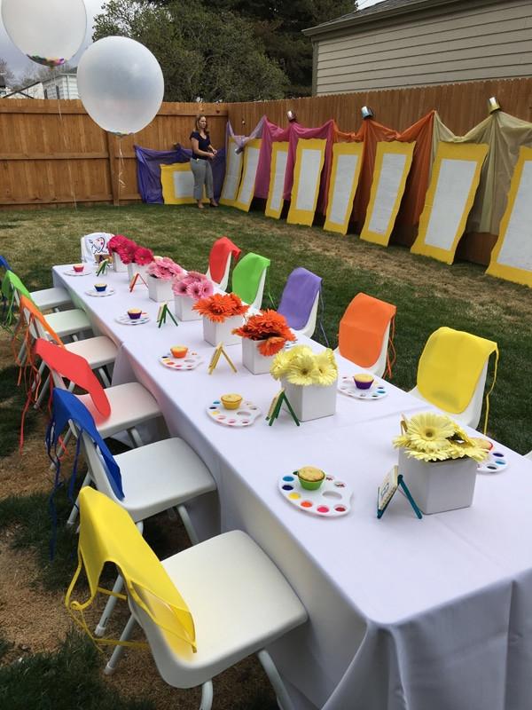 Backyard Kid Party Ideas  Kids Backyard Art Party Idea Pretty My Party Party Ideas