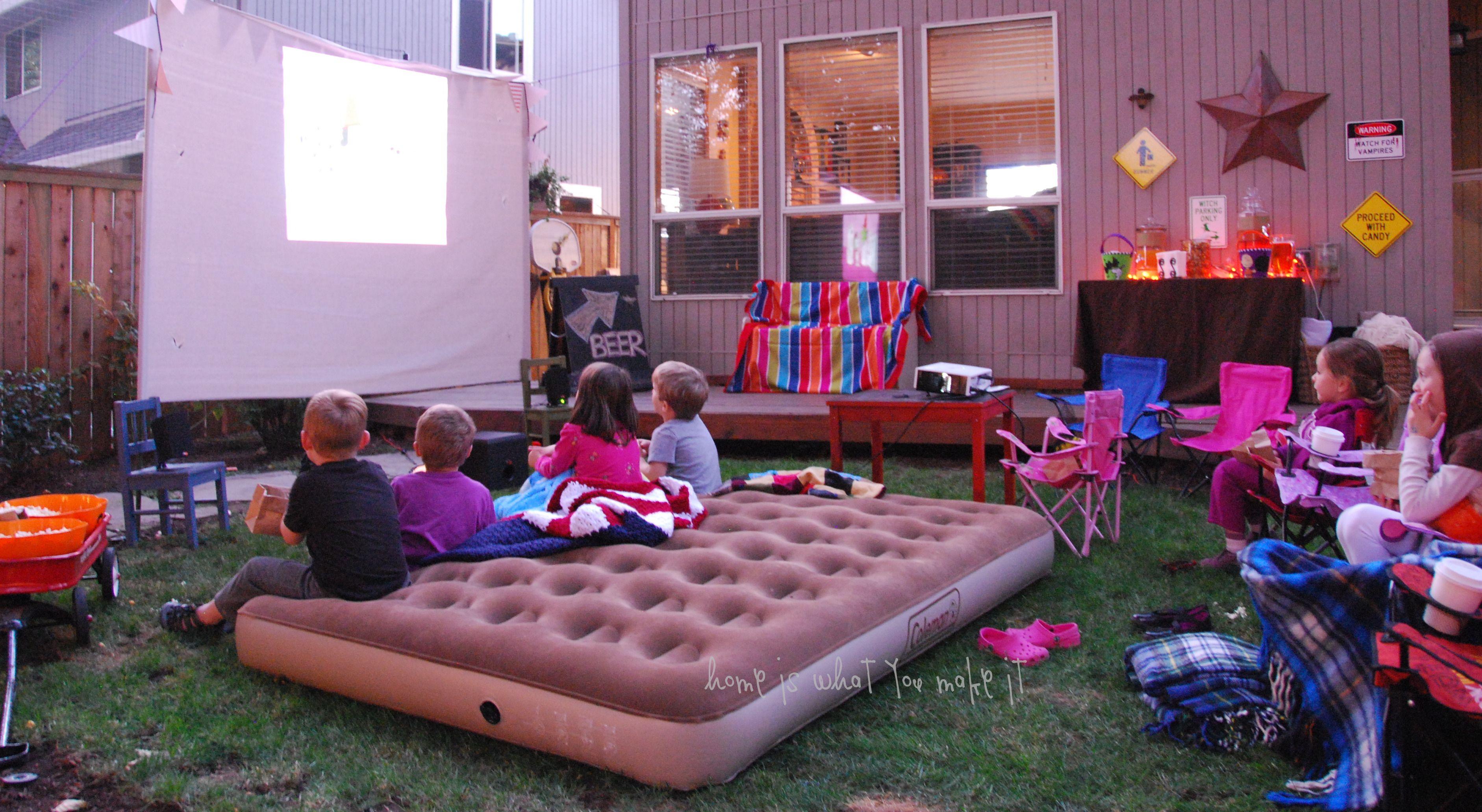 Backyard Movie Party Ideas  fall backyard movie night