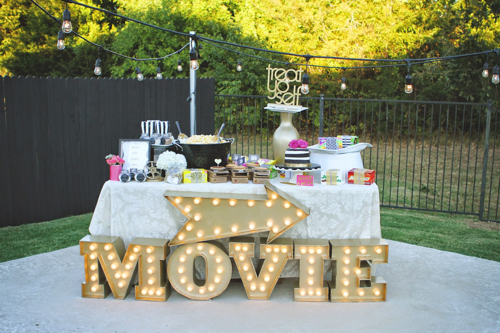 Backyard Movie Party Ideas  PB J Babes Movie Night Under the Stars