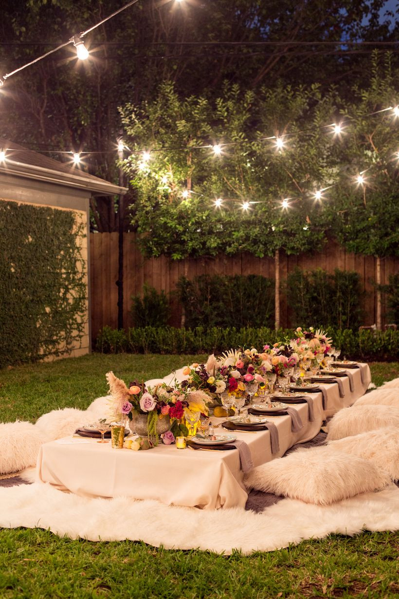 Backyard Party Decor Ideas  A Bohemian Backyard Dinner Party