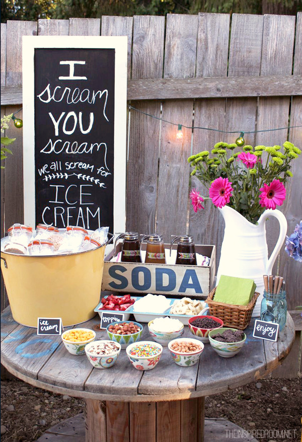 Backyard Party Decoration Ideas For Adults  Backyard Ice Cream Party Summer Fun The Inspired Room