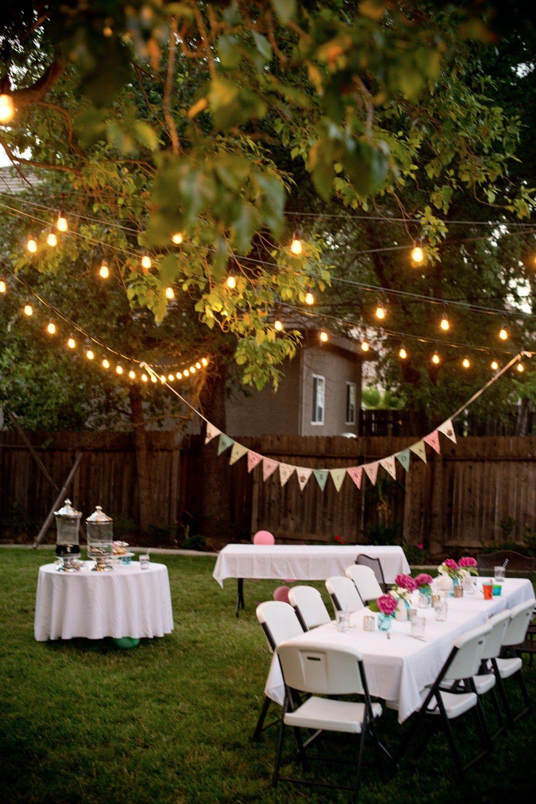 Backyard Party Ideas For Graduation  Backyard Birthday Fun Pink Hydrangeas Polka Dot Napkins